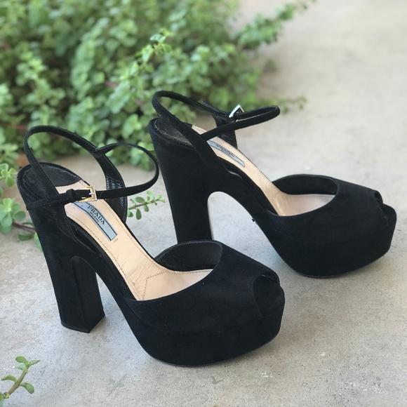 f8d0f0b86d60 Prada Shoes - Prada Black Suede Peep Toe Platform Pump Heels